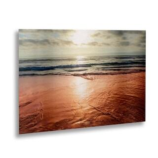 Ariane Moshayedi 'Beach Reflections' Floating Brushed Aluminum Art