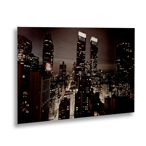 Ariane Moshayedi 'NYC After Dark' Floating Brushed Aluminum Art