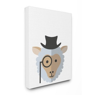 'Hipster Sheep' Illustration Stretched Canvas Wall Art
