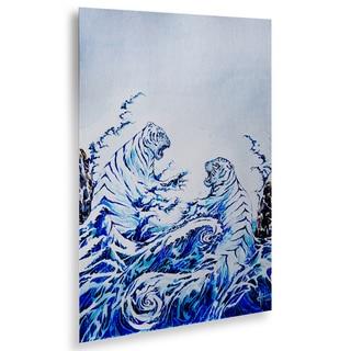 Marc Allante 'The Crashing Waves' Floating Brushed Aluminum Art