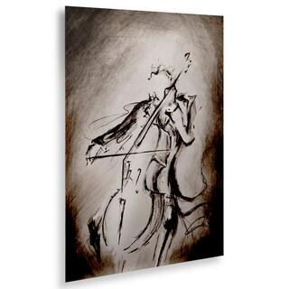 Marc Allante 'The Cellist' Floating Brushed Aluminum Art