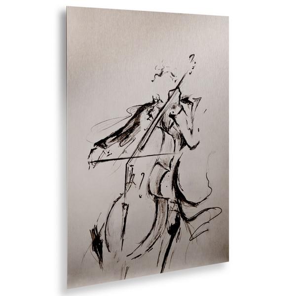 Marc Allante 'The Cellist Sketch' Floating Brushed Aluminum Art
