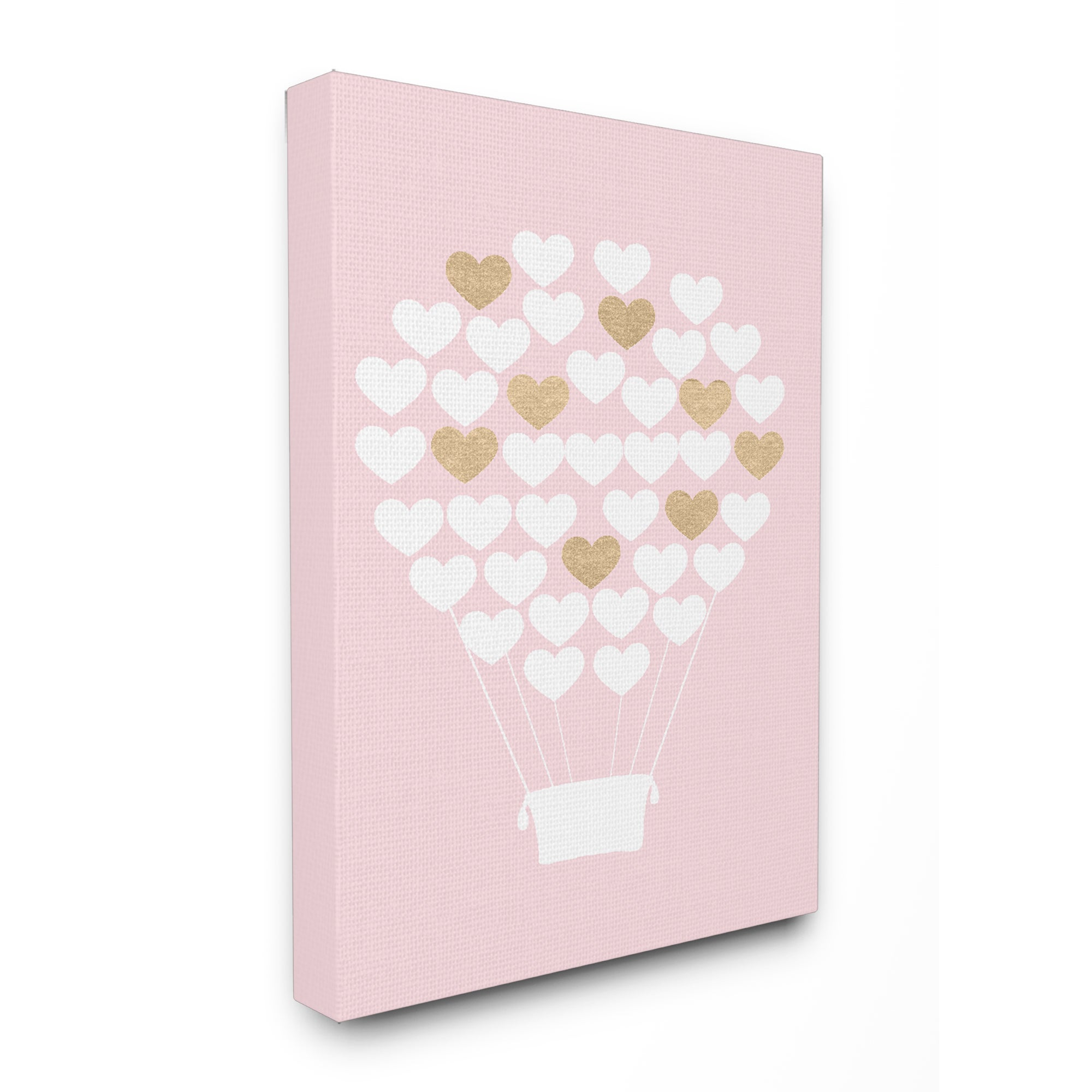 White gold pink heart hot air balloon stretched canvas wall art