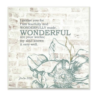 EtchLife 'Fearfully and Wonderfully Made' Typography Floral Wall Plaque Art
