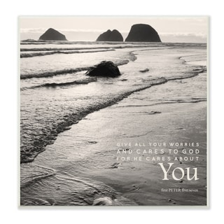 Stupell EtchLife 'Give All Your Worries' Black and White Beach Photography Wall Plaque Art
