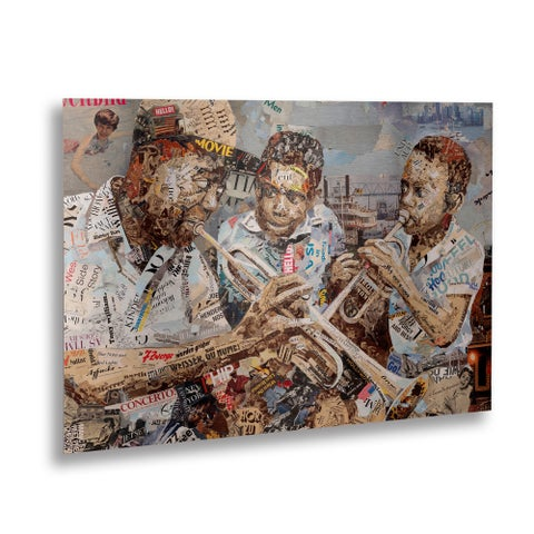Ines Kouidis 'Blues Boys' Floating Brushed Aluminum Art