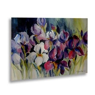 Rita Auerbach 'White Iris' Floating Brushed Aluminum Art - Multi - 16 x 22