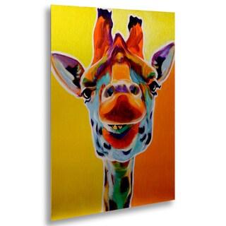DawgArt 'Giraffe No. 3' Floating Brushed Aluminum Art