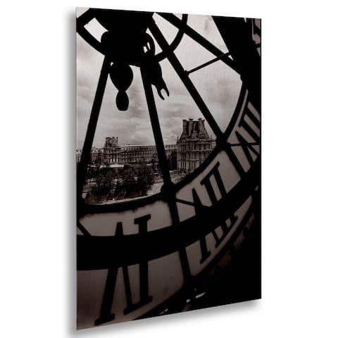 Chris Bliss 'Big Clock' Floating Brushed Aluminum Art