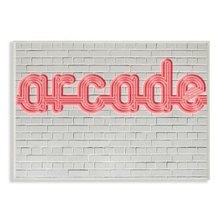 'Arcade Graphic Sign on Brick Background' Wall Plaque Art