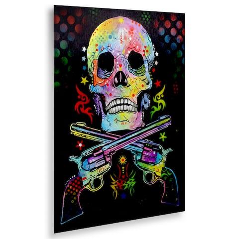 Dean Russo 'Skull and Guns' Floating Brushed Aluminum Art
