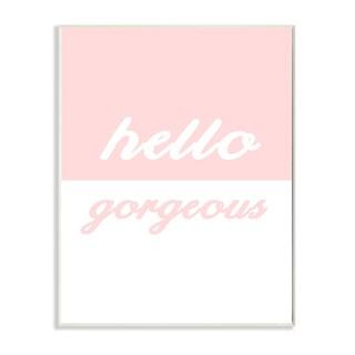 'Hello Gorgeous - Split Pink' Wall Plaque Art - 10 x 15