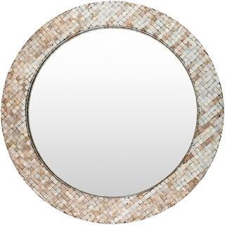 "Sunda Mother of Pearl Inlaid Wall Mirror (31.5 x 31.5) - Grey - 31.5"" x 31.5"""
