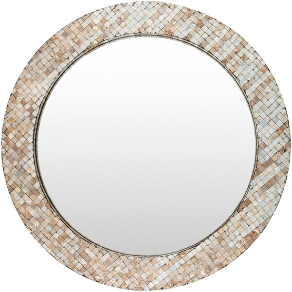 "Sunda Mother of Pearl Inlaid Wall Mirror (31.5 x 31.5) - Grey - 31.5"" x 31.5"""