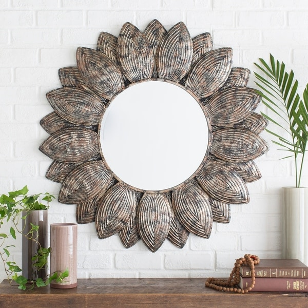 """Nyrmada Sunflower Round Wall Mirror (36 x 36) - Pewter/Champagne/Silver - 36"""" x 36"""""""
