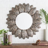 Nyrmada Sunflower Round Wall Mirror (36 x 36) - Pewter/Champagne/Silver