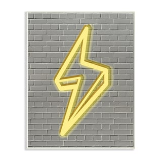 'Neon Lightning with Brick Background' Wall Plaque Art