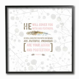 Stupell EtchLife 'He Will Cover You Psalm 91.4 - Pink' Framed Giclee Texturized Art