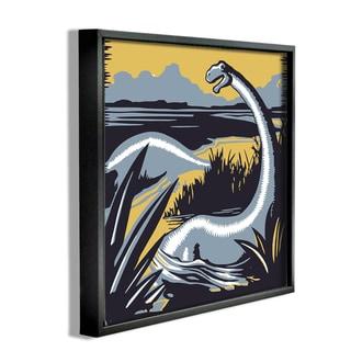 'Graphic Dinosaur' Framed Giclee Texturized Art