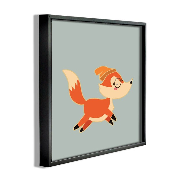 'Hipster Fox with Beanie' Framed Giclee Texturized Art
