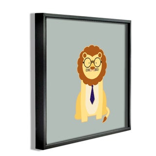 'Hipster Lion With Tie' Framed Giclee Texturized Art