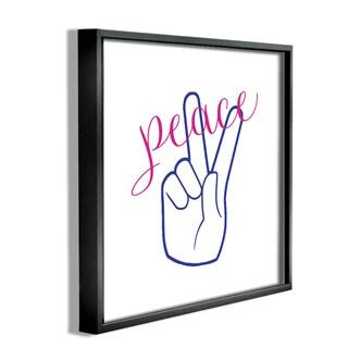'Peace Hand - with Cursive' Framed Giclee Texturized Art