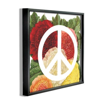 'Peace Sign - with Flowers' Framed Giclee Texturized Art