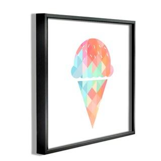 'Graphic Rainbow Ice Cream Cone' Framed Giclee Texturized Art