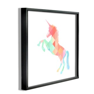 'Graphic Rainbow Unicorn' Framed Giclee Texturized Art