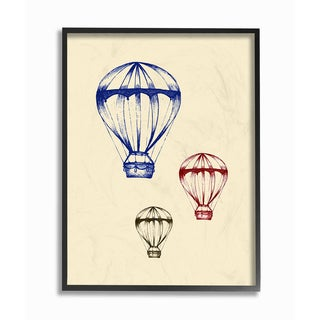 'Graphic Hot Air Balloon - Blue Red Green Oversized' Framed Giclee Texturized Art