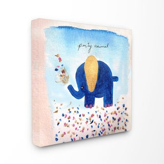 'Party Animal Elephant' Stretched Canvas Wall Art