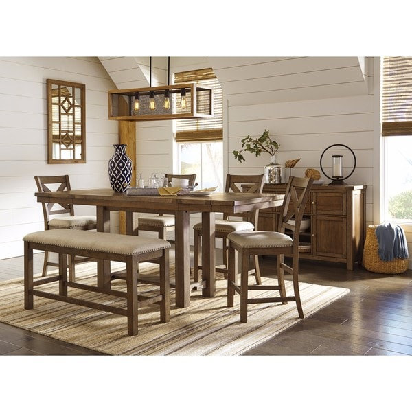 Signature Design By Ashley Moriville 7 Piece Beige Dining Set