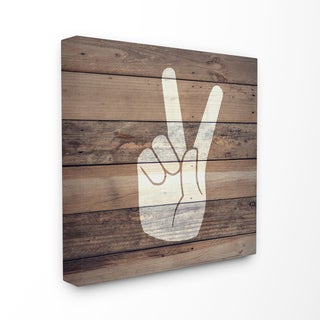 'Peace Hand - Distressed Wood' Stretched Canvas Wall Art