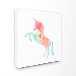 'Graphic Rainbow Unicorn' Stretched Canvas Wall Art