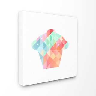 'Graphic Rainbow Cupcake' Stretched Canvas Wall Art