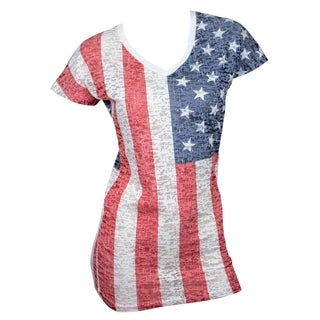 USA Women's Cotton Blend American Flag T-shirt