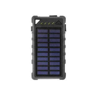 ZBANK 8000mAh Ultra-Compact High Speed Portable Solar Charger With Dual Output and LED indicator - Black