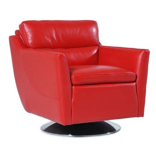 Shop Clio Full Top Grain Leather Contemporary Chair Red Overstock 14484975