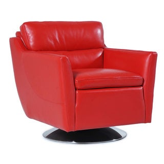 Clio Full top Grain Leather Contemporary Chair Red