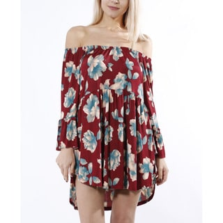 JED Women's Stretchy Off-Shoulder Bell Sleeve Floral Tunic