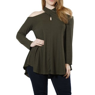 JED Women's Plus Size Cold Shoulder Tunic with Keyhole Neckline