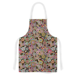 Kess InHouse Julia Grifol 'My Butterflies & Flowers in Brown' Rainbow Floral Artistic Apron