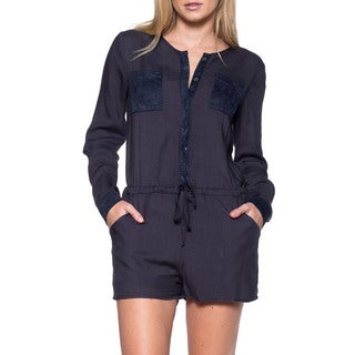 JED Women's Navy Long-sleeved Romper with Drawstring Waist