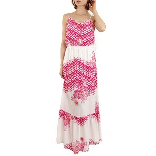 JED Women's Printed Tank Ruffled-hem Maxi Dress