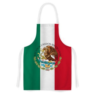 Kess InHouse Bruce Stanfield 'Mexico Flag And Coat Of Arms' Red Artistic Apron