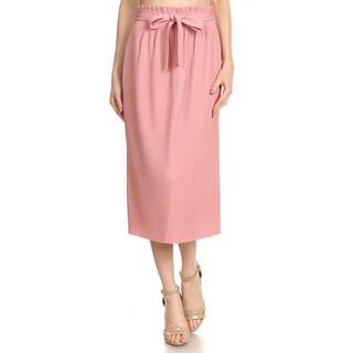 JED Women's Ultra Stretchy Pleated Elastic Waist Midi Skirt with Self-tie Ribbon