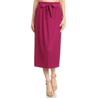 JED Women's Ultra Stretchy Pleated Elastic Waist Midi Skirt with Self-tie Ribbon