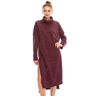 JED Women's Loose Fit Long Sleeve Turtleneck Knit Weekend Dress