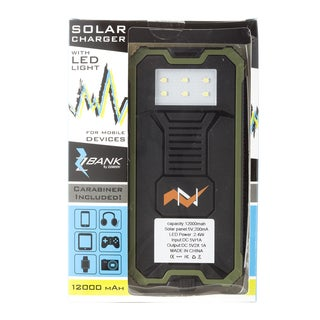 ZBANK 12000mAh Ultra-Compact High Speed Portable Solar Charger With Dual Output and LED indicator - Grey