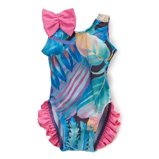 Dippin' Daisy's Infant and Toddler's Ethnic Multicolored Nylon and Spandex Floral One-piece with Ruffles